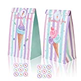 Ice Cream Gift Bags Ice Cream Paper Goodie Candy Treat Bags for Kids Birthday Ice Cream Theme Party Decoration Supplies Favors Sweet Themed Goodie Bags with 12PCS Ice Cream Bags and Stickers