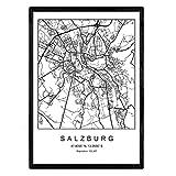 Drucken Stadtplan Salzburg skandinavischen Stil in Schwarz