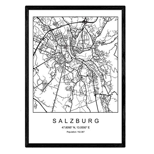 Drucken Stadtplan Salzburg skandinavischen Stil in Schwarz und Weiß. A3 Größe Plakat Das bedruckte Papier Keine 250 gr. Gemälde, Drucke und Poster für Wohnzimmer und Schlafzimmer