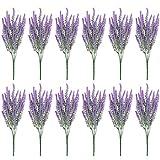 Belle Vous Flor Artificial Lavanda (Pack de 12) Plantas Decorativas Artificiales 37 cm con Ramas Desmontables para el Hogar, Oficina, Jardín, Ramillete de Bodas - flor lavanda Decor Interior, Exterior