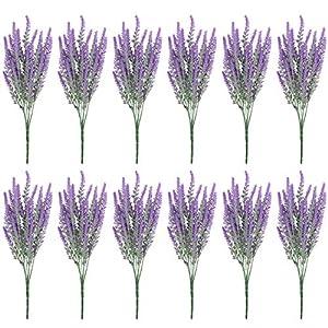 Belle Vous Flor Artificial Lavanda (Pack de 12) Plantas Decorativas Artificiales 37 cm con Ramas Desmontables para el…