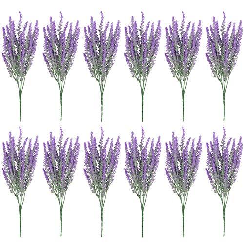 BELLE VOUS Kunstblumen Lavendel (12 STK) - 37cm Künstliche Lavendel Blumenstrauß Strauch Abnehmbare Zweige Kunstpflanzen für Zuhause, Büro, Garten, Hochzeit, Blumendeko Innen & Draußen