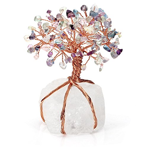 Top Plaza Chakra Healing Fluorite Crystals Copper Tree of Life Wrapped On Natural Clear Quartz Crystal Base Money Tree Feng Shui Luck Figurine Decoration