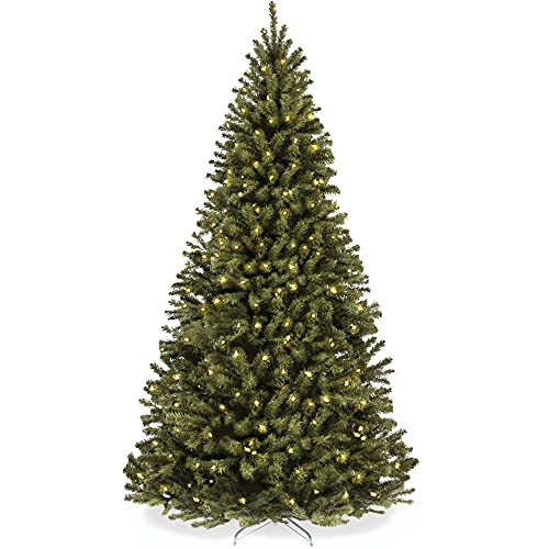 Best Choice Products 6ft Pre-Lit Spruce Hinged Artificial Christmas Tree w/ 250 UL-Certified Incandescent Warm White Lights, Foldable Stand
