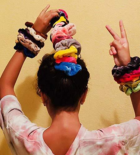 Hair Scrunchies Velvet Silk Chiffron Flower Hair Scrunchies for Women or Girls Hair Accessories |30Velvet Hair Scrunchies+20Satin Hair Scrunchies+16 Chiffron Flower Scrunchies 6