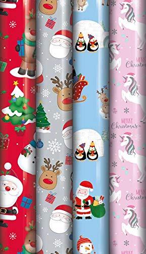 Confezione da 8 rotoli di carta da regalo con simpatici personaggi natalizi, 5 m