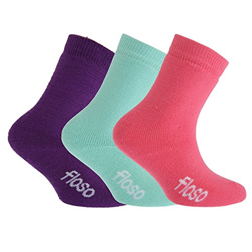 Floso FLOSO® Kinder Winter Thermo Socken (3-er Pack) (EUR 26-31 (5-7 Jahre)) (Pink/Lila/Aquamarin)