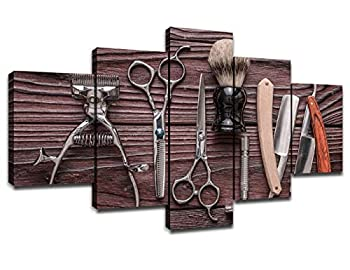 Vintage Barber Shop Tools Wall Pictures Canvas Art Hair Salon Wall Decor Framed Artwork Posters Paintings Room Decorations Ready to Hang 60  Wx32  H