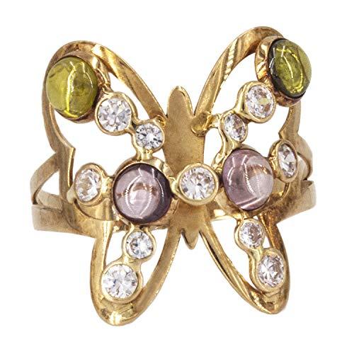 PRIORITY Sortija Mariposa con Circonitas en Oro 18K | Anillo Mariposa| Anillo Mujer | Anillo Elegante | Anillo con circonitas | Regalo | Talla 16
