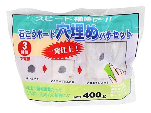 家庭化学 石こうボード穴埋めパテセット ホワイト 400g