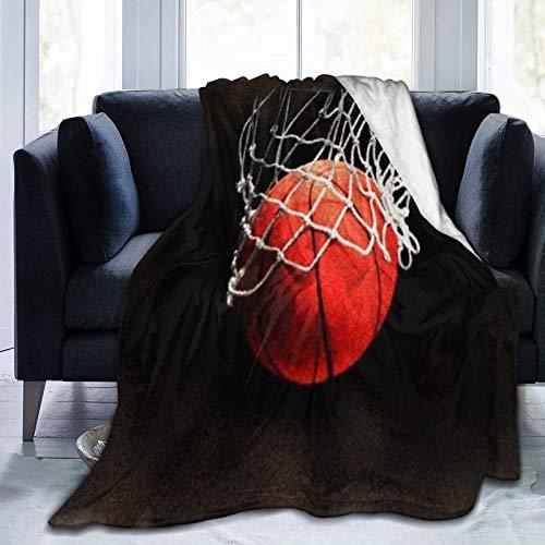 Baloncesto Pintura Digital Arte Deportivo Manta de Microfibra Ultra Suave Fabricada en Franela Anti-Pilling, más cómoda y cálida.80x60
