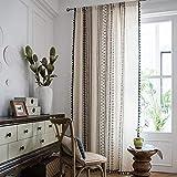 CoutureBridal Cortinas traslúcidas de lino negro y blanco con borla para salón o dormitorio, diseño geométrico opaco, cortinas opacas (ancho 140 cm x alto 240 cm, 1 unidad)