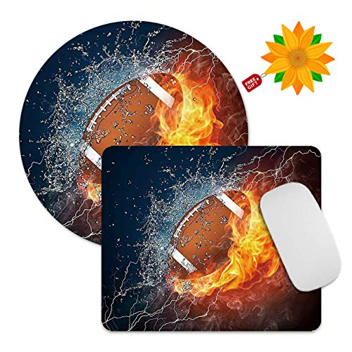 Mouse Pad Burning Football 2 Pack Computer Mousepad Non-Slip Rubber Rectangle Round Mouse Pads Office Accessories Desk Decor Mouse Mat for Wireless Mouse Laptop + Sunflower Stickers