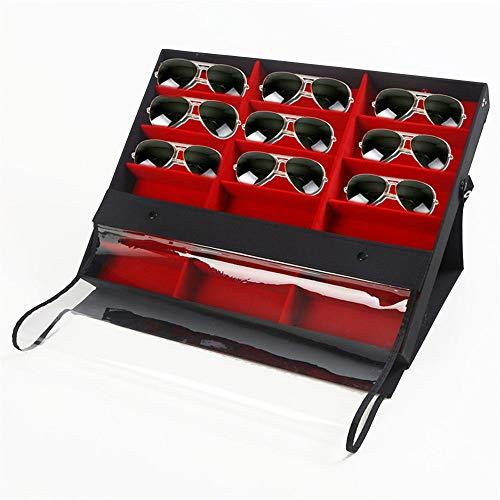 PN-Braes Caja de Almacenamiento de Gafas Gafas de Sol Vitrina 18 Ranura Gafas de Sol Exhibidor de Gafas Bandeja de Almacenamiento Bandeja de Regalo para él Vitrina de Gafas de Sol (Color : Red)