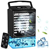 2021Upgraded Personal Air Conditioner, Desk Portable Air Conditioner Fan, Mini Air Conditioner with Remote Control, Misting Small Portable Air Conditioner with 7 Colors Light, Mini Air Cooler Black