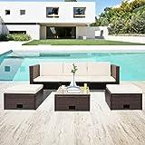 Ksodgun Set Muebles de jardín 4 Piezas y Cojines Conjunto de Jardin de Exterior Terraza Patio Set ratán sintético marrón