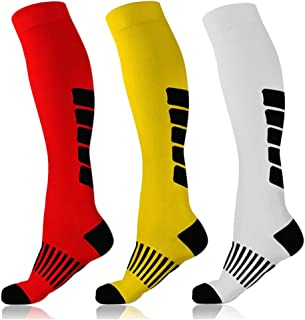 3 Pairs Compression Socks Women & Men Best Athletic for Running, Nurses, Travel