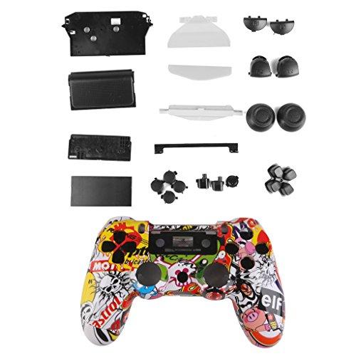 Almencla Controller Gehäuse Hülle Bausatz Button und Trigger Kit für PS4 Controller - Verrückter Schädel