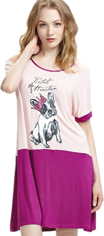 DMMSS Women 'S Fashion Pajamas Cartoon Short  Sleeved Dress Skirt Thin Section Loose Home Service Dress