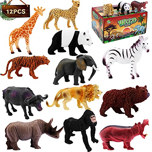 Safari Animal Figurines Toy Realistic Jungle Zoo Toy Set Wild Animals Figures Educational Toy for Kids Gift Cupcake Topper Forest Animals Playset 12PCS