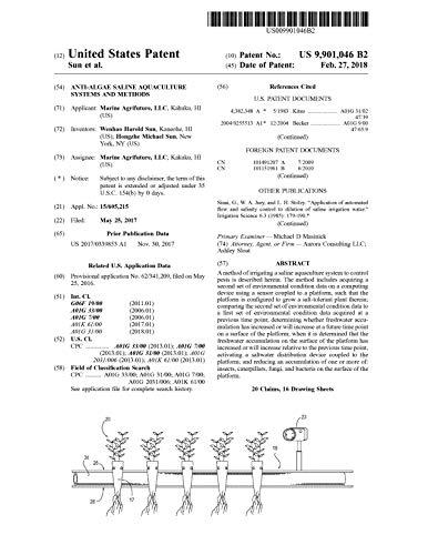 Anti-algae saline aquaculture systems and methods: United States Patent 9901046 (English Edition)