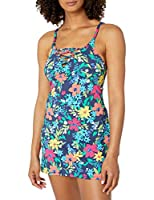 Nautica Women's Lace Up Swimdress, Deep Sea Floral, Extra Large