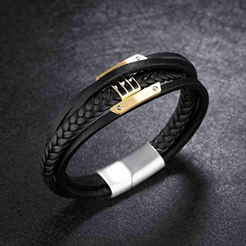 JYHW Men Leather Bracelets Black Braid Rope Chain Stainless Steel Bangles Magnetic Clasp Vintage Male Jewelry 4 Layer