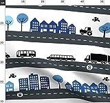 Straße, Stadt, Haus, Auto, Lkw, Jungen, Bus Stoffe -