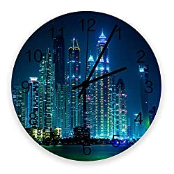Fandim Fly Wall Clock Battery Operated Non-Ticking,Cityscape with Rivers Skyscrapers Cosmopolitan City Image 11.8 inch Frameless Round Wood Wall Clocks for Kitchen School Bathroom Living Room
