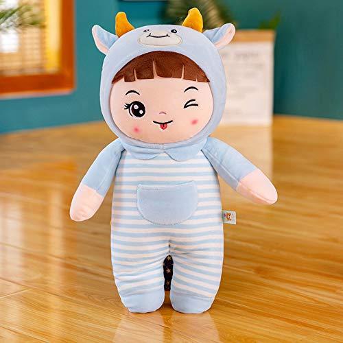 Decanyue 28-33cm Pequeña transformación Creativa Maverick Doll Ragdoll Pareja Peluche Muñeca Baby Sleeping Pillow 28cm Azul