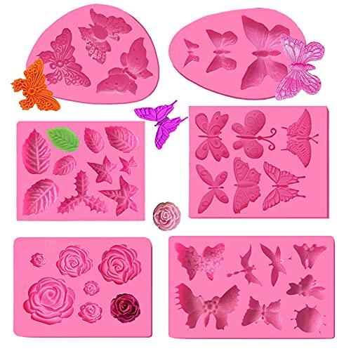 6 moldes de silicona para fondant, diseño de mariposa, libélula, rosa, hojas,...