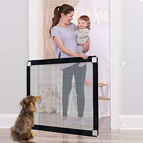 Puerta de perro, todos los polos metálicos Marco Puerta mágica para perros, puerta de seguridad para bebés con llave, neta de aislamiento de barrera de perro portátil para la puerta de la escalera int