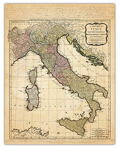 Vintage Italy Map Wall Art Print - (11x14) Photo Unframed Make Great Room Wall Decor Gift Idea Under $15