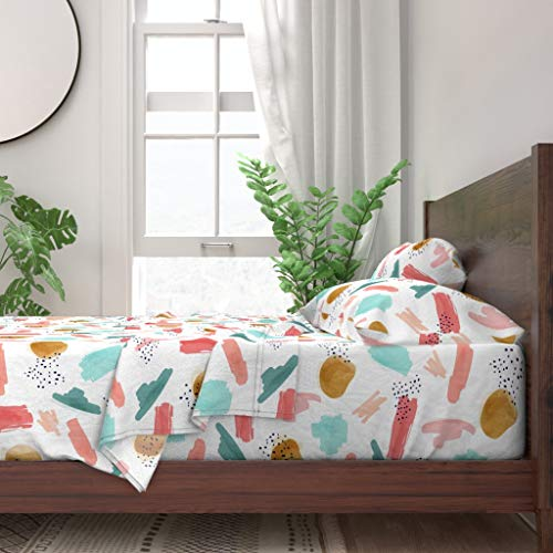 Best Buy! Roostery Sheet Set, Fresh Prints Minty Mint Coral Coral and Mint Abstract Girls Print, 100...