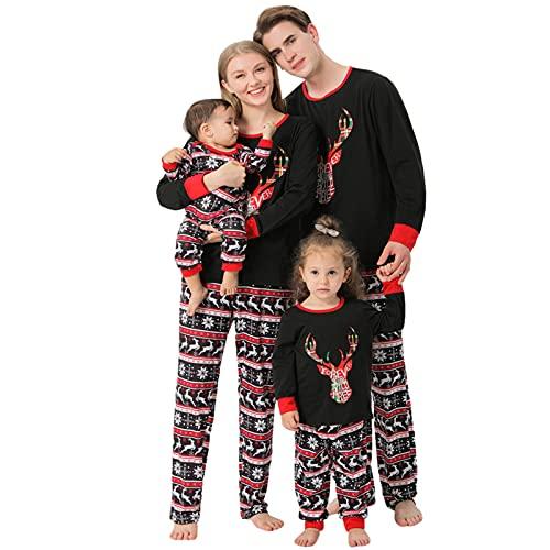 Zilosconcy Weihnachtspyjama Familie Set Baumwolle Chrismas Feiertag Hirsch Weihnachtsanzug Drucken Pyjamas Weihnachten Pyjama Weihnachten Pullover Winter Warme Hausanzug Set Familie Mama Papa Kind