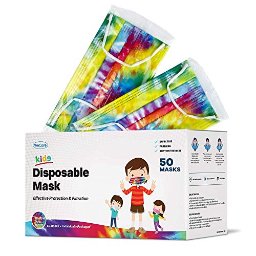 WeCare Disposable Face Masks For Kids, 50 Printed Masks, Individually Wrapped