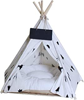 Norgail Pet Teepee Tent for Dogs, Cute Modern Dog Pet Teepee Tent Bed House with Cushion, Puppy Beds Portable Indoor Dog House Cat Tent Tipi(Blackboard Included)