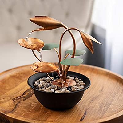 """Pure Garden 50-LG5061 Tabletop Fountain-10.5"""" Cascading Water Over Metal Flowers and Leaves, Electric Pump, Soothing Indoor Waterfall for Home Décor"""