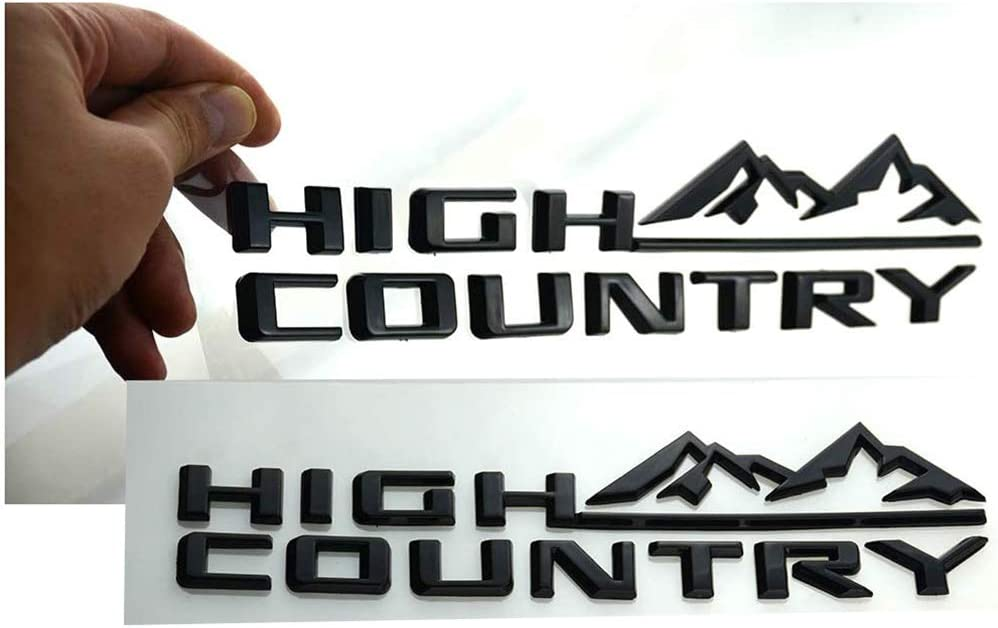 Pair Set High Country Emblem Fender Door Tailgate Badge 3D Nameplate Replacement For Silverado 1500HD 2500HD 3500HD Gloss Black