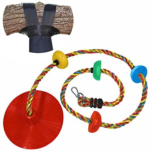 Jungle Gym Kingdom Seilschaukel – Kletterseile & Scheibenschaukel für Kinder mit rotem Sitz zum Schaukeln – Outdoor-Spielplatz-Set mit Karabiner & 1,2 m Gurt – Baumhauszubehör