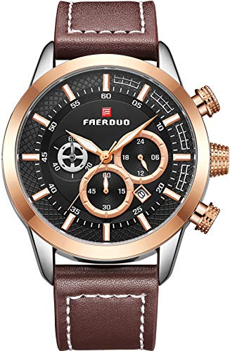 FAERDUO Reloj para Hombre Clásico Elegante Negocios Analógico Cuarzo Reloj Impermeable Cuero Fecha Relojes