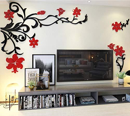 Layyqx gouden bloem zilveren tak 3D acryl muursticker huis decor acryl plant moderne vlinder decoratie 112Cmx140cm