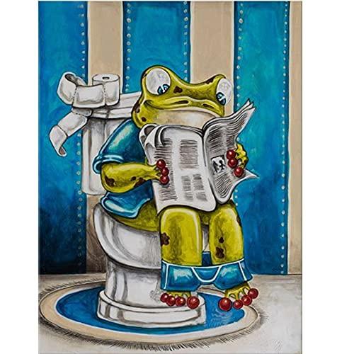 Extmnj 5D Diamantmalerei 5D Vollbohrdiamantmalerei,Frosch Liest Zeitung 30X40Cm,5D Full Drill Diamond Stickerei Kreuzstichfarben Nach Number Kit Compilations Für Erwachsene Geschenke Für Mädchen