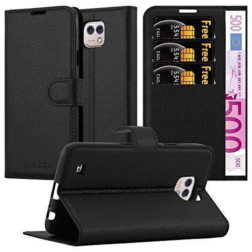 Cadorabo Hülle für LG X CAM in Phantom SCHWARZ - Handyhülle mit Magnetverschluss, Standfunktion & Kartenfach - Hülle Cover Schutzhülle Etui Tasche Book Klapp Style