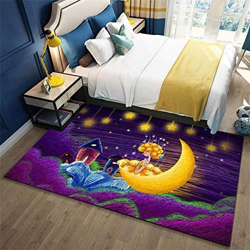 Alfombra De áRea Media Luna Fluorescente Azul Amarillo púrpura Alfombra Antideslizante alfombras...