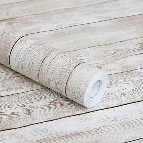 Carta autoadesiva in vinile, motivo legno grezzo, per piani di lavoro da cucina, armadietti, cassetti, mobili, pareti (45cm x 10m, marrone chiaro)