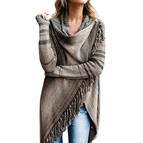 TUDUZ Damen Poncho Cape mit Rollkragen Gestrickten Pullover Sweater unregelmäßige Quaste Cardigan Strickwaren Mantel (S, Grau)