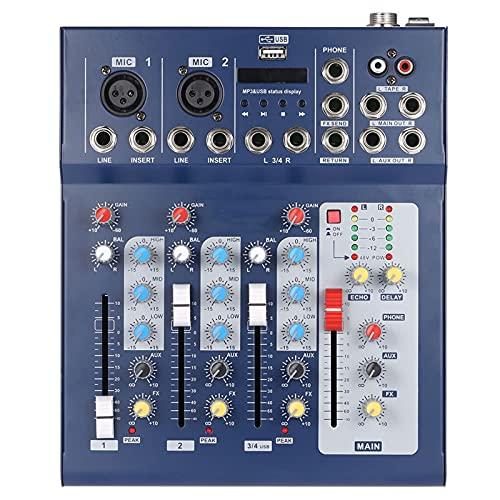 Feixunfan Mezclador de audio de 3 canales Digtal Mic Line Mezclador de audio Consola con 48 V Phantom Power para serpentinas Podcasters (color: azul, tamaño: talla única)