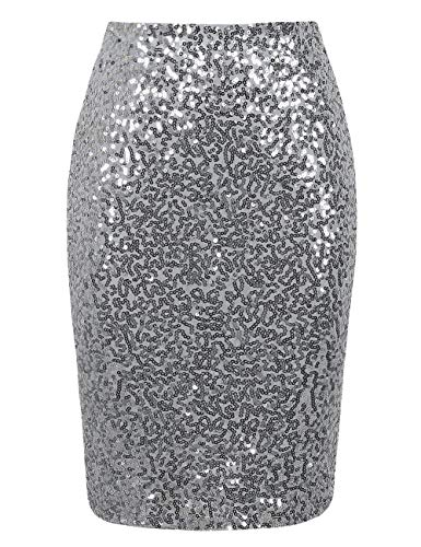 PrettyGuide Women's Sequin Skirt High Waist Sparkle Pencil Skirt Party Cocktail L Silver