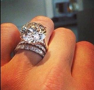 Zhiwen Gorgeous 925 Sterling Silver Women's White Sapphire Engagement Wedding Ring Set Size 6-10